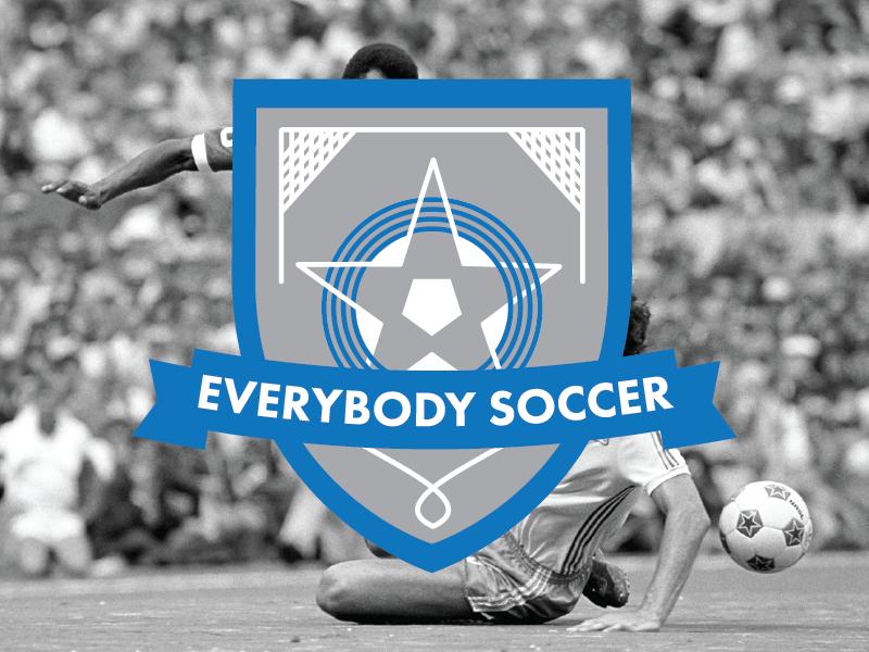 Everybody Soccer - Blue crest soccer logo t-shirt