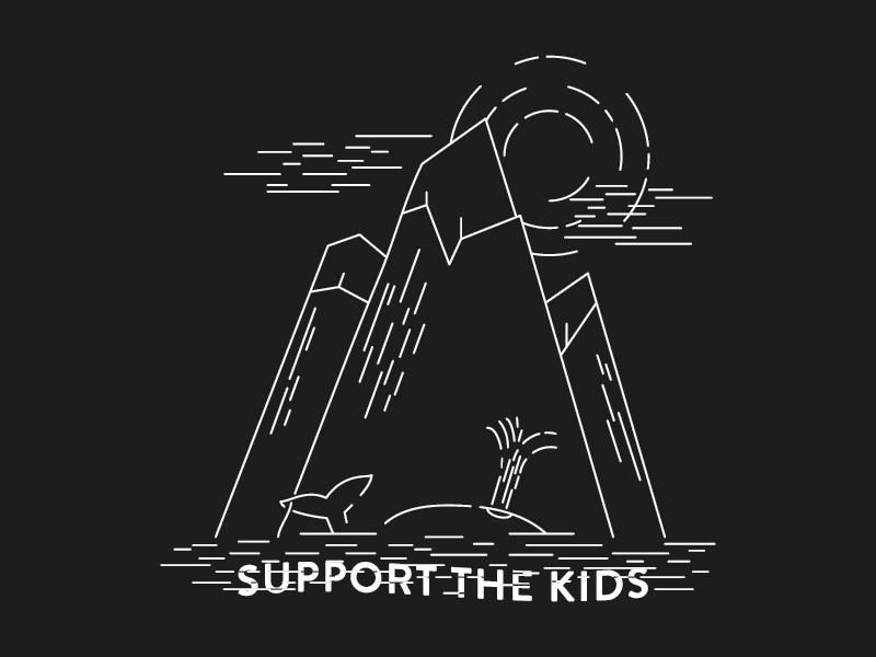 Support The Kids kids mountains water clouds sun island whale