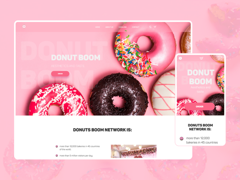 "UI/UX Web Design bakery ""Donut boom"" uiux design web design website web ux ui design"