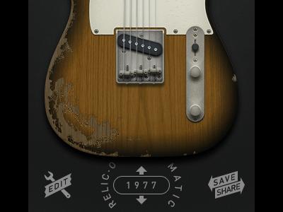 Guitar app — new UI plus custom paint jobs guitar illustration photoshop aged damaged custom ui buttons edit save share sunburst interface flat