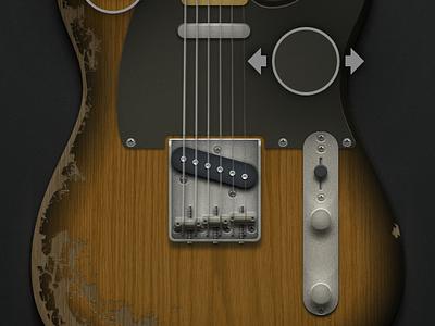 Guitar app — edit mode guitar illustration photoshop aged damaged custom ui buttons edit save share sunburst interface