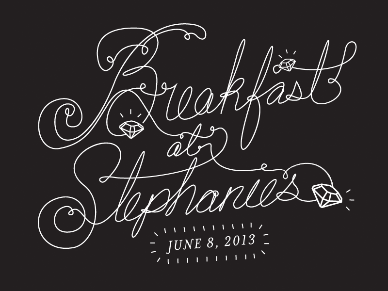 Breakfast at Stephanie's handdrawn lettering diamonds black and white