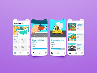 Illustration set for learning app design vector illustration
