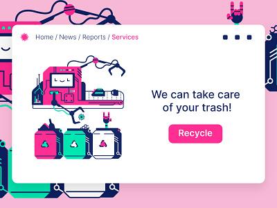 Trash recycling illustration vector illustration