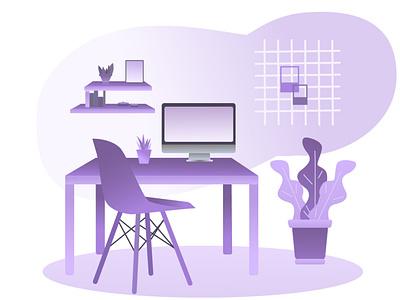 workplace minimal design flat vector illustration