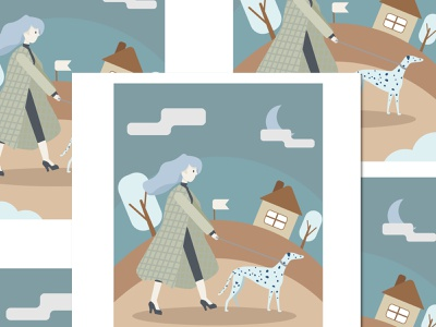 girl with dog flat vector illustration