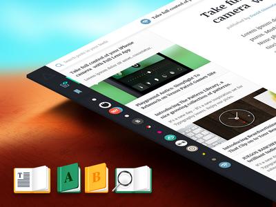 Some more AdventuRSS - Case Study Progress reader app osx tabs books icon magnifying glass rss adventurss