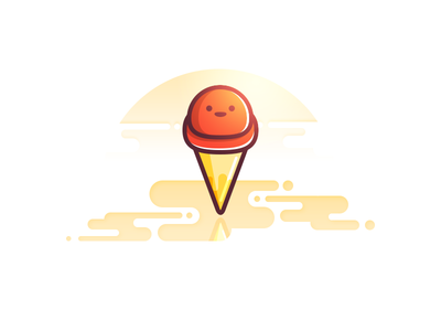 Gelato in the sun ice cream gelato sun icon illustration character cute red water flat