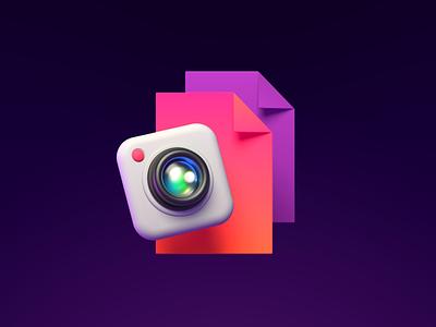 Photo Icon. camera document file explorer files 3d lens photography illustration icon ui