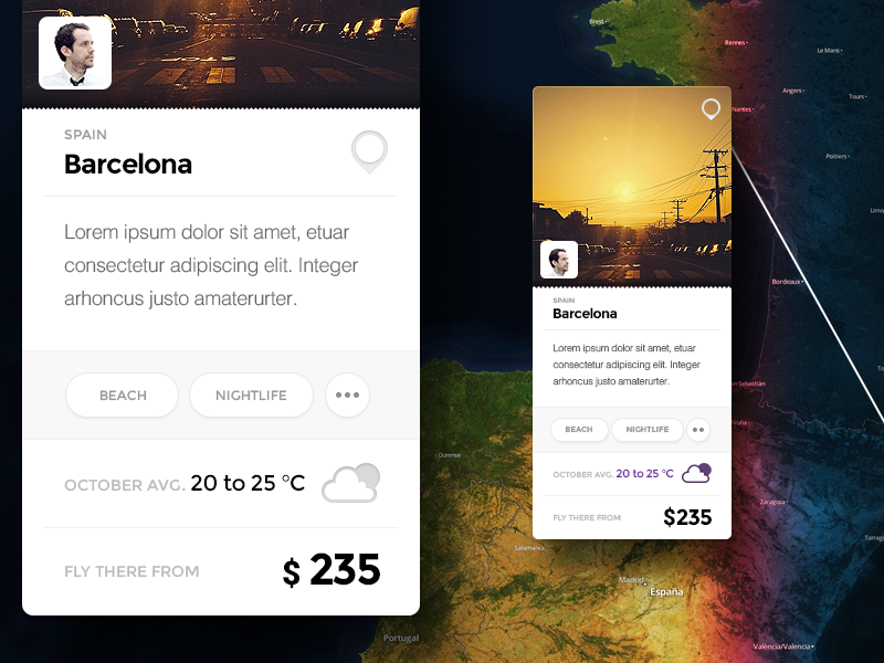 Travel card map card context travel information weather profile