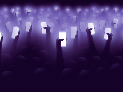 From the back of the venue hand concert dark phone device hands purple illustration