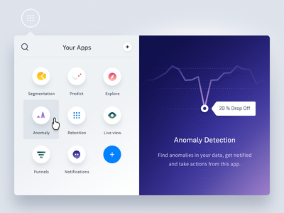 Mixpanel Apps Dashboard gradients dialog flyout data desktop dashboard exploration mixpanel