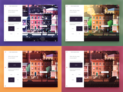 Yomes - Renters Transparency Initiative spring summer winter fall seasons vector step form questionnaire illustration web interactive
