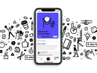 OLMO App - First look advice work mentor layout mobile ios app