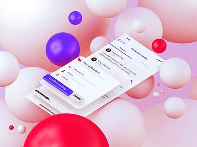OLMO App - Thread and Meeting invite ui social community 3d c4d mobile icon ios app