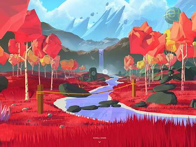 Decentraland — WebGL Intro magic illustration 3d intro web tree environment