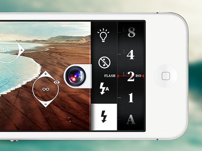 Camera App #wip camera icon iphone ios lens blue white homescreen gestures app options flash iso