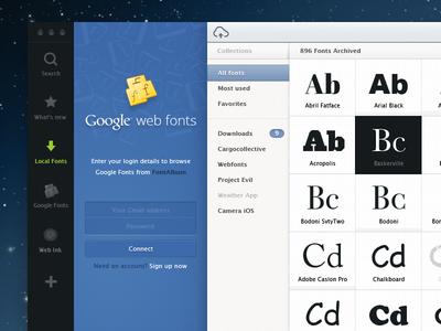 Font Album work in progress fonts font manager desktop app typography album collection software color picker