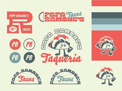 Papa Ramone's  - Brand Starter Kit lockup type badge identity brand identity vector freelance badge mascot design logo illustrator graphic design flat branding