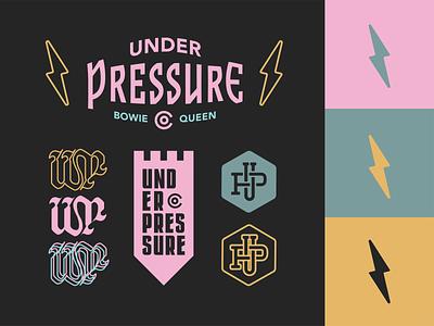 Under Pressure - Old English Inspo set freelance brand builder brand design merchandise tee design badge design apparel brand identity vector logo illustrator graphic design flat design branding