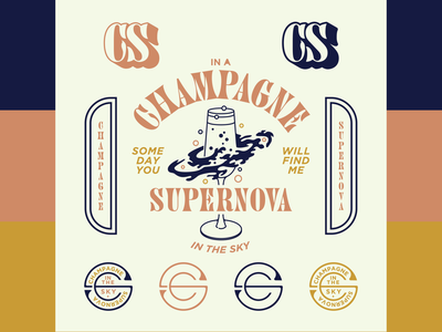 Champagne Supernova - Badge Set mercy design brand kit badge flash badge design illustration vector logo illustrator graphic design flat design branding