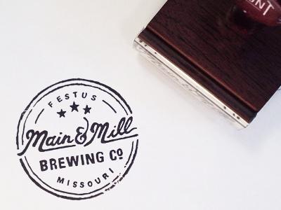 Main & Mill Brewing Co. // submark stamp custom stamp rubber stamp submark logomark main  mill brewing co. brewpub identity design print vintage logo handdrawn