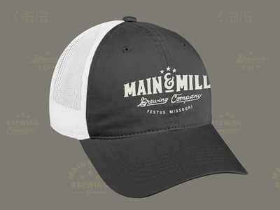 Main & Mill Brewing Co. // embroidered hat comp main mill brewing co. main  mill brewing co. festus mo brewpub local brewery branding goods wearables