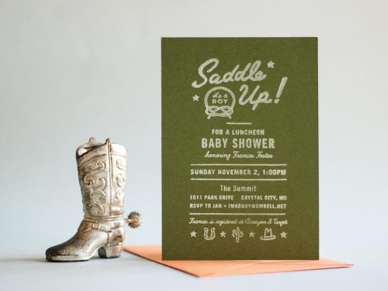 hand-stamped baby shower invitation hand-stamped invitation baby shower custom correspondence print vintage rubber stamp