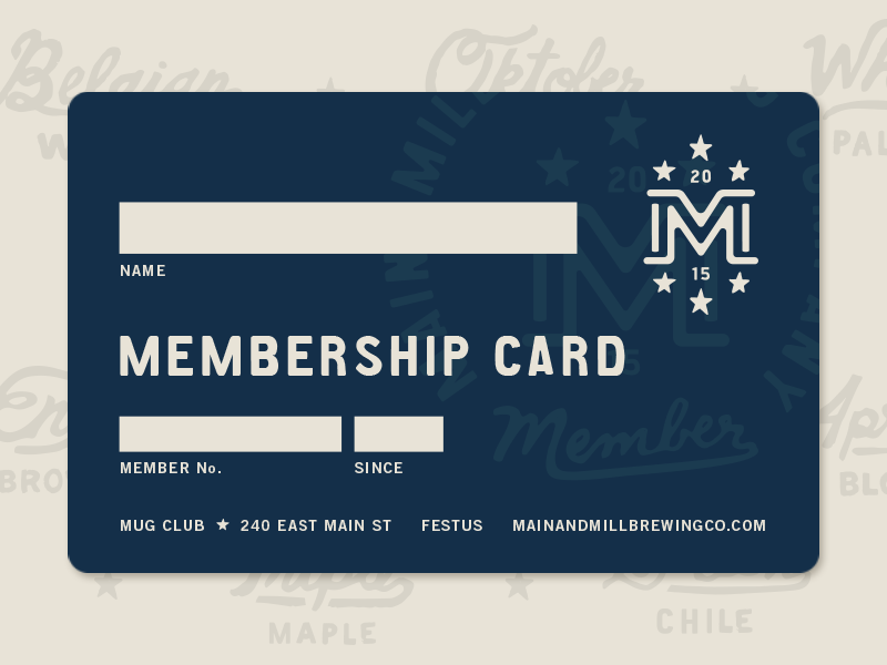 MMBC // Membership Card main mill brewing co. mainandmillbrewingco mainandmill main and mill brewing co. brewpub brewery card member handdrawn type identity design