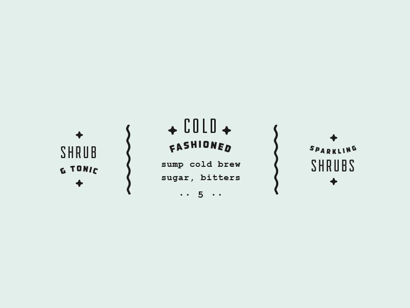 + cold fashioned + gilded pretty typography type print menu design cold fashioned