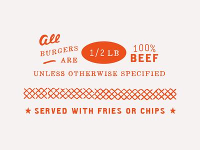 1/2 LB brewpub handdrawn type print menus burgers menu design mmbc