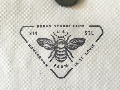 Stamp on gas station napkin urban sprout farm branding logo icon wings bee farm homegrown print identity design rubber stamp stamp
