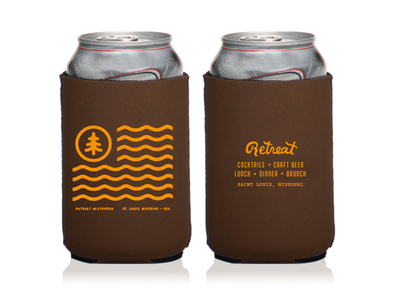 Retreat Gastropub / Koozie No. 01 beer can beer merchandise goods stl st. louis retreat gastropub retreat print design drink design coozie koozie