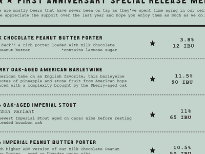 First Anniversary Street Fest - special release menu