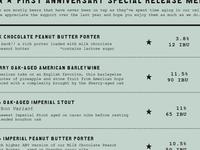 First Anniversary Street Fest - special release menu