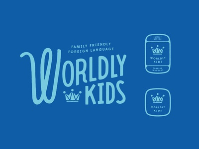 Worldly Kids / scrapped option 02 language family world loopy crown type playful identity branding worldly kids