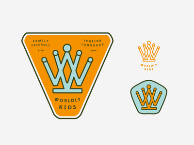 Worldly Kids / WK as crown  (scrapped) wk icon language family world loopy crown type playful identity branding worldly kids