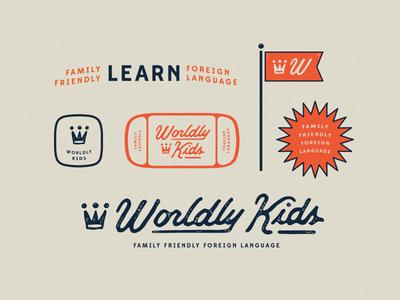 Worldly Kids / final brand elements wk icon language family world script crown type playful identity branding worldly kids