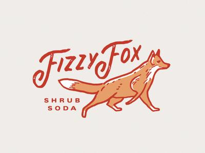 Fizzy Fox identity branding bev soda rough handdrawn illustration fox shrub soda fizzy fox