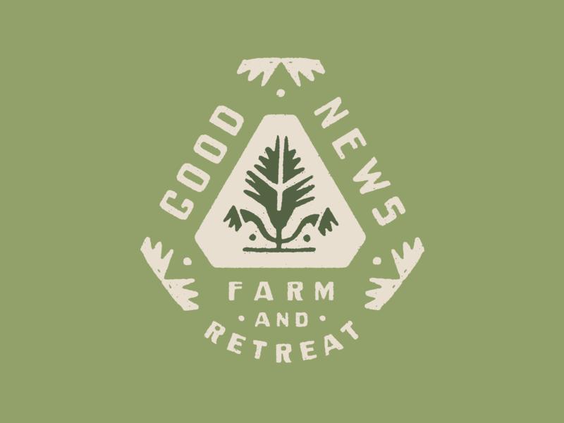 Good News Farm logo green distressed folk art farm badge brand identity brand branding