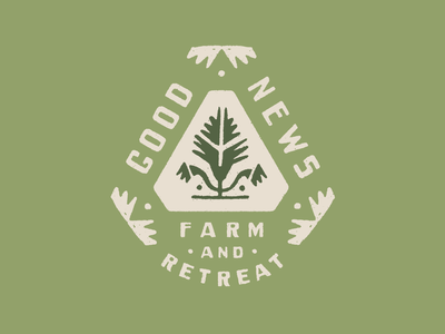 Good News Farm logo green distressed folk art farm badge brand identity brand branding