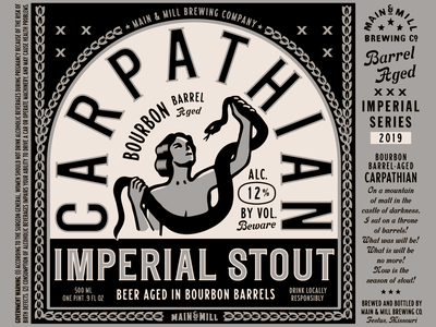 Label Art: CARPATHIAN Bourbon Barrel Aged Imperial Stout illustration typography design beer art imperial stout carpathian mmbc main  mill brewing co craft brewery beer can beer bottle label design beer design beer