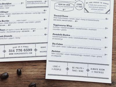 The Mud House to-go menus menu print restaurant type breakfast