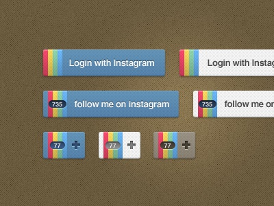 Instagram Buttons instagram download follow sign in with button blugraphic freebie