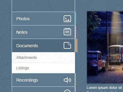 Flat Vertical Menu Navigation Widget (free psd) free psd menu navigation widget ui download vector