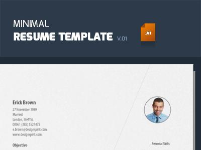 Minimal Resume Template (Illustrator) vector illustrator resume cv photoshop free download job