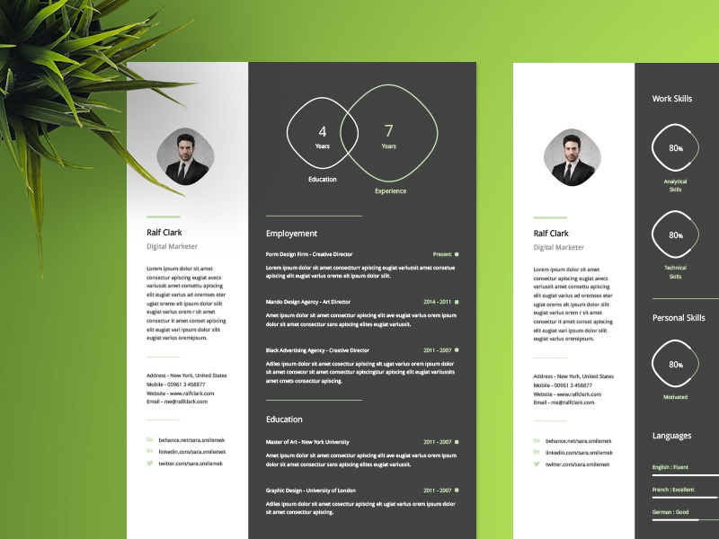 infographic resume template by wassim