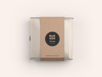 Burger Box Mockup .PSD mockup package burger box freebie free