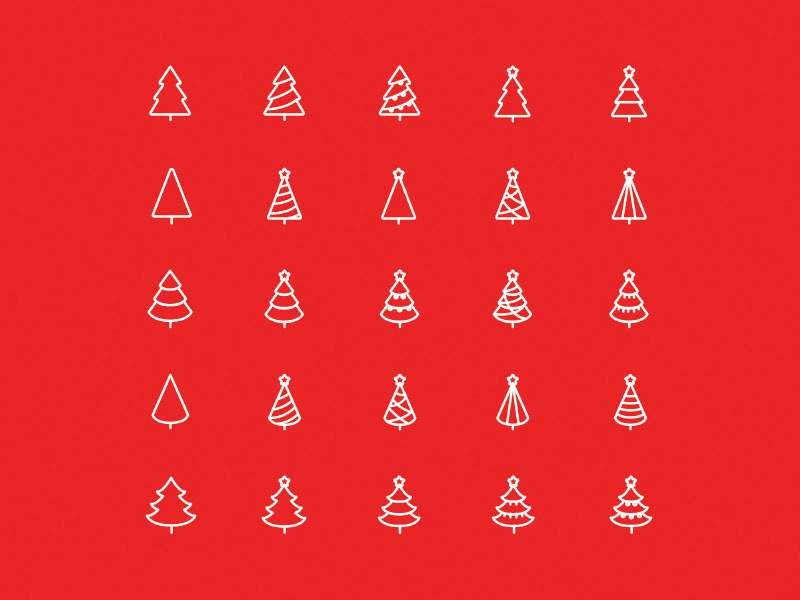 Christmas Trees Icons - Vector .Ai By Wassim