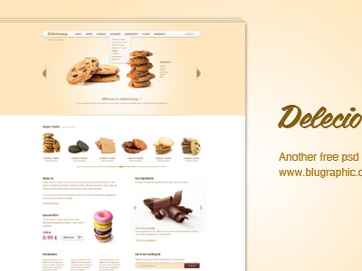 Delecioussary - Cookies Website cookies blugraphic website template free delecioussary psd